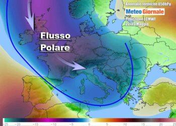 Possibile evoluzione prevista per il prossimo weekend, secondo il Centro Meteo Europeo