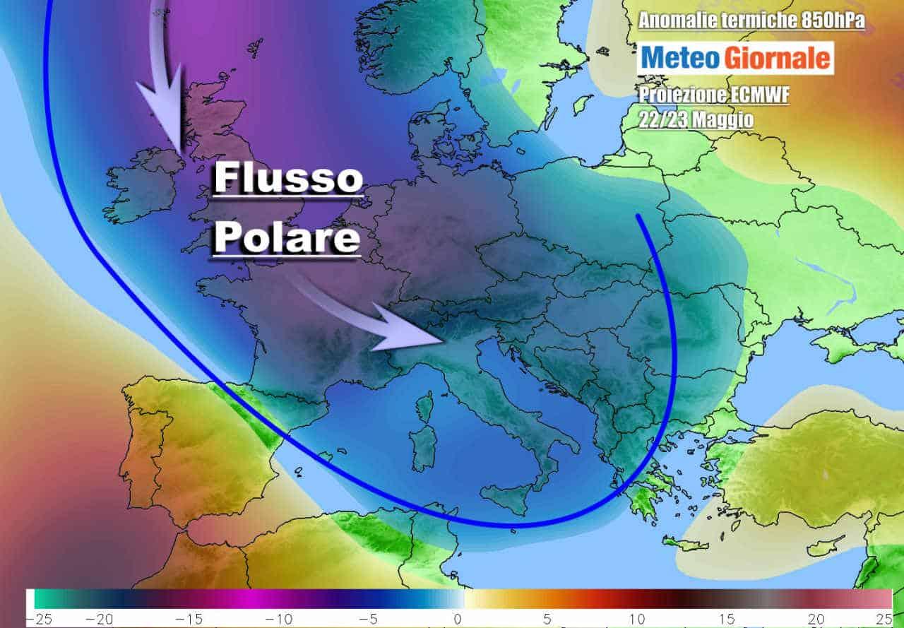 meteo weekend 22 23 maggio - Meteo con AFFONDO POLARE in Europa. La Primavera rischia uno STOP