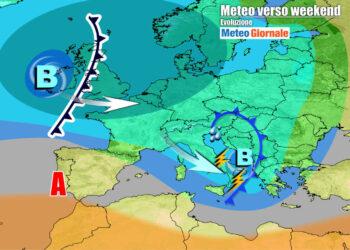 Evoluzione meteo prevista tra venerdì e sabato