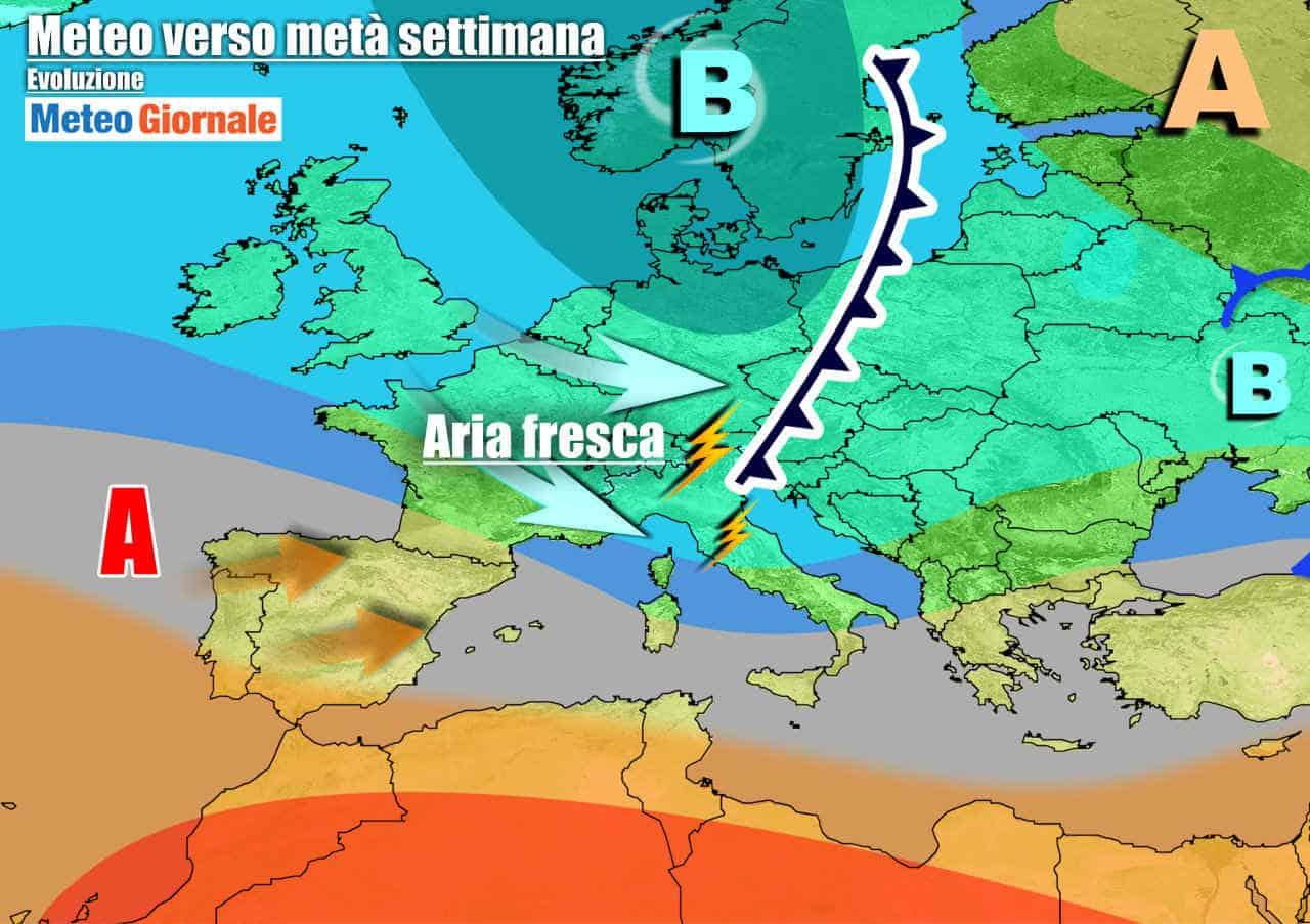 meteogiornale 7 g 16 - Non va troppo bene. Meteo influenzato da aria fresca. La cronaca meteo prossimi giorni