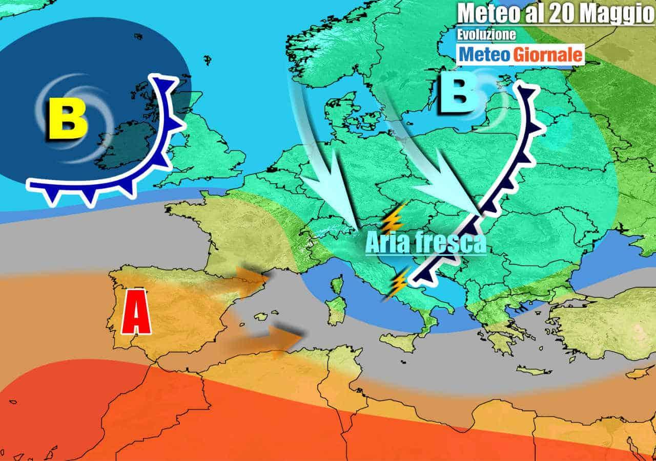 meteogiornale 7 g 17 - METEO con rovesci e temporali con temperature in calo. Weekend altre novità