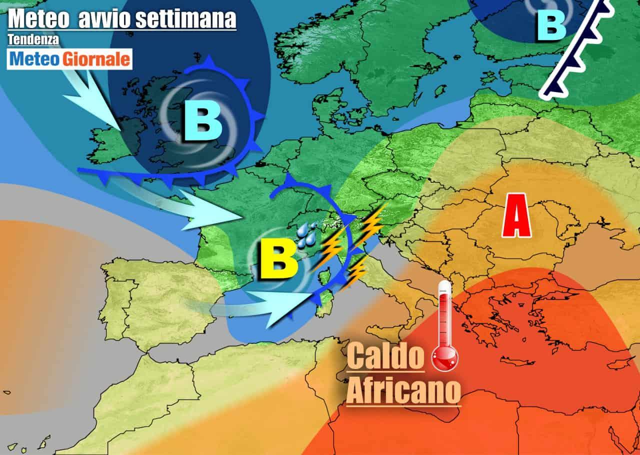 meteogiornale 7 g 21 - METEO Italia.  Instabile, forti temporali lunedì. Caldo solo al Sud