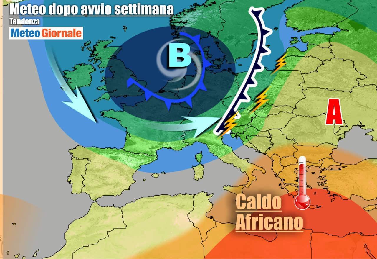meteogiornale 7 g 22 - METEO Italia. Nuova settimana tra TEMPORALI e il CALDO AFRICANO, dettagli
