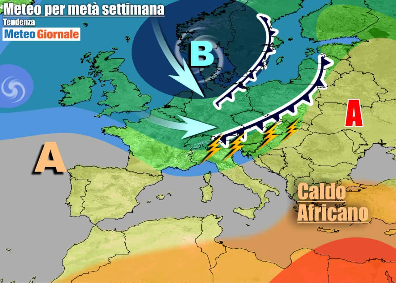 meteogiornale 7 g 23 - METEO 7 Giorni. Italia tra locali ACQUAZZONI e CALDO AFRICANO