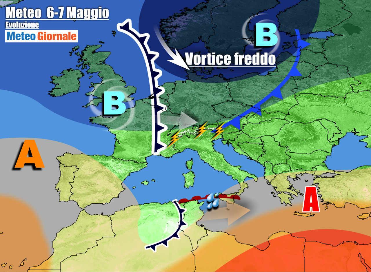 meteogiornale 7 g 3 - METEO Italia. Peggioramento con transito di perturbazioni. Poi cambia tutto