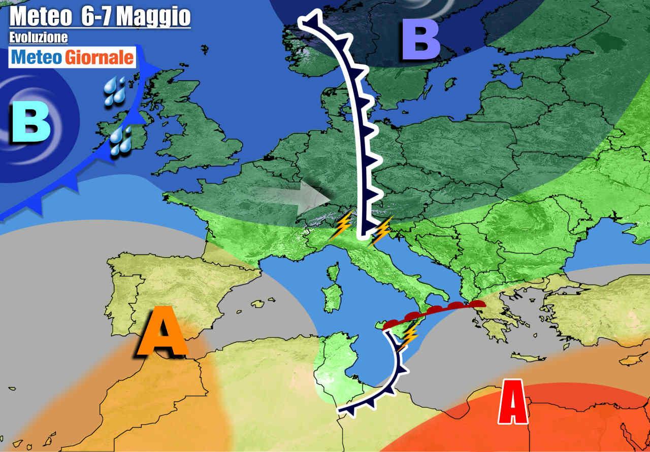 meteogiornale 7 g 4 - METEO Italia: turbolenze prima dell'Alta Pressione e del CALDO d'Africa. Poi cambia