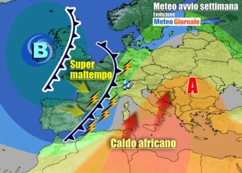 Scenario meteo previsto per l'inizio della nuova settimana