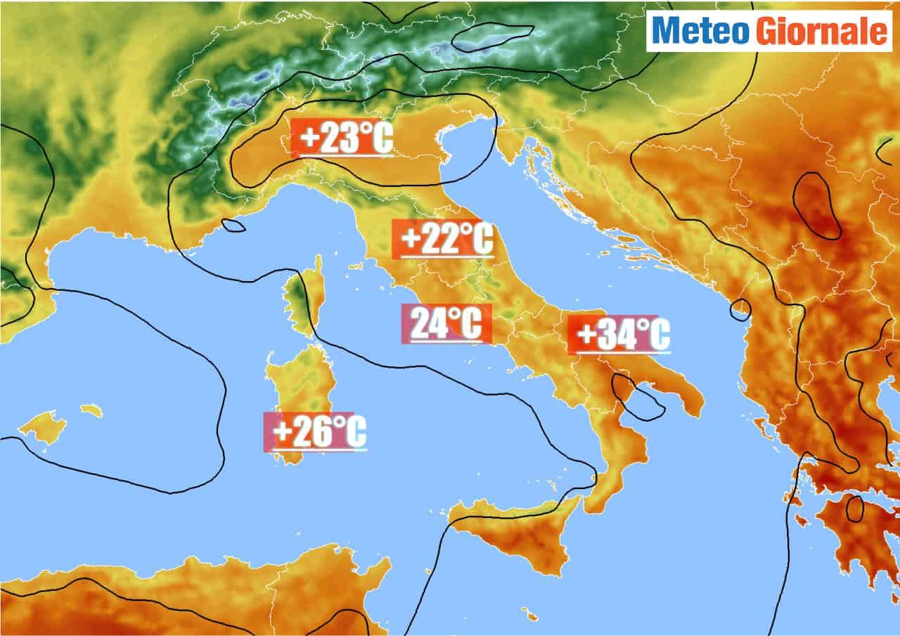 temperature massime di oggi - Temperature massime di oggi sino a 34°C