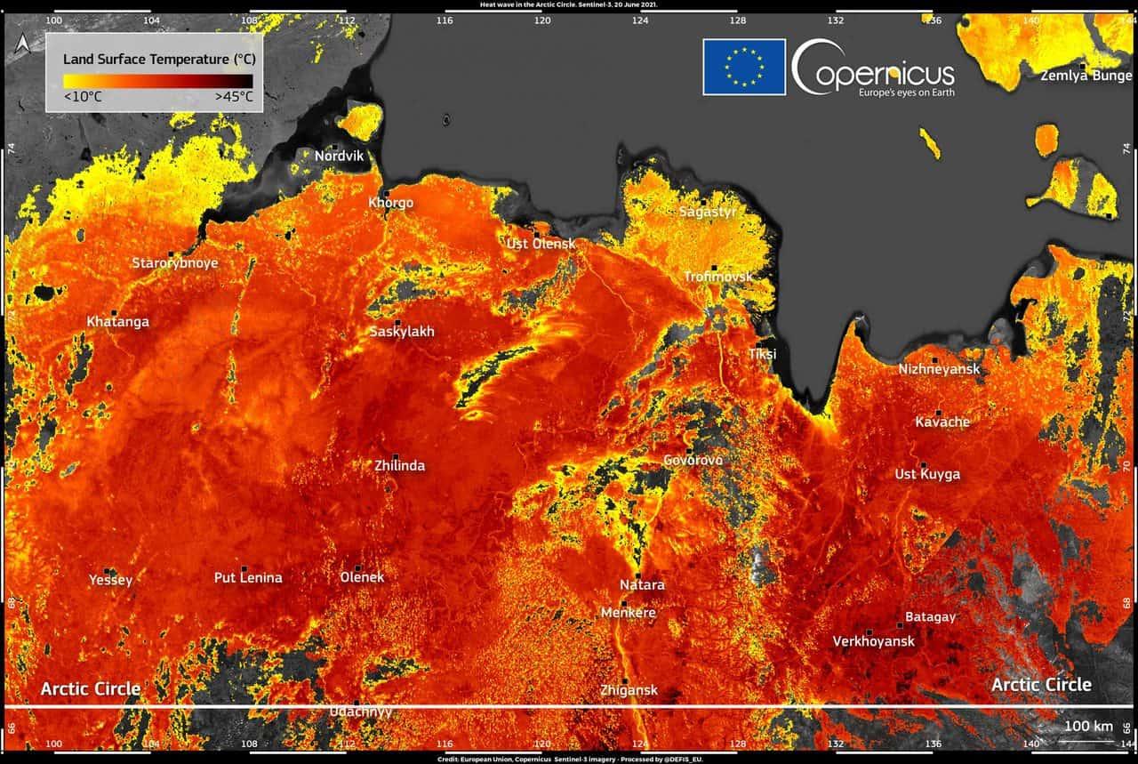 20210621 HeatwaveintheArcticCircle scaled 1 - Temperature, previsioni meteo di CALDO ATROCE, sino 45-47°C in Sicilia