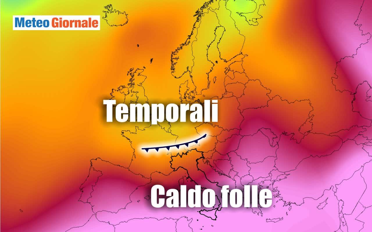 caldo folle - Meteo settimanale: nuova intensificazione del CALDO africano