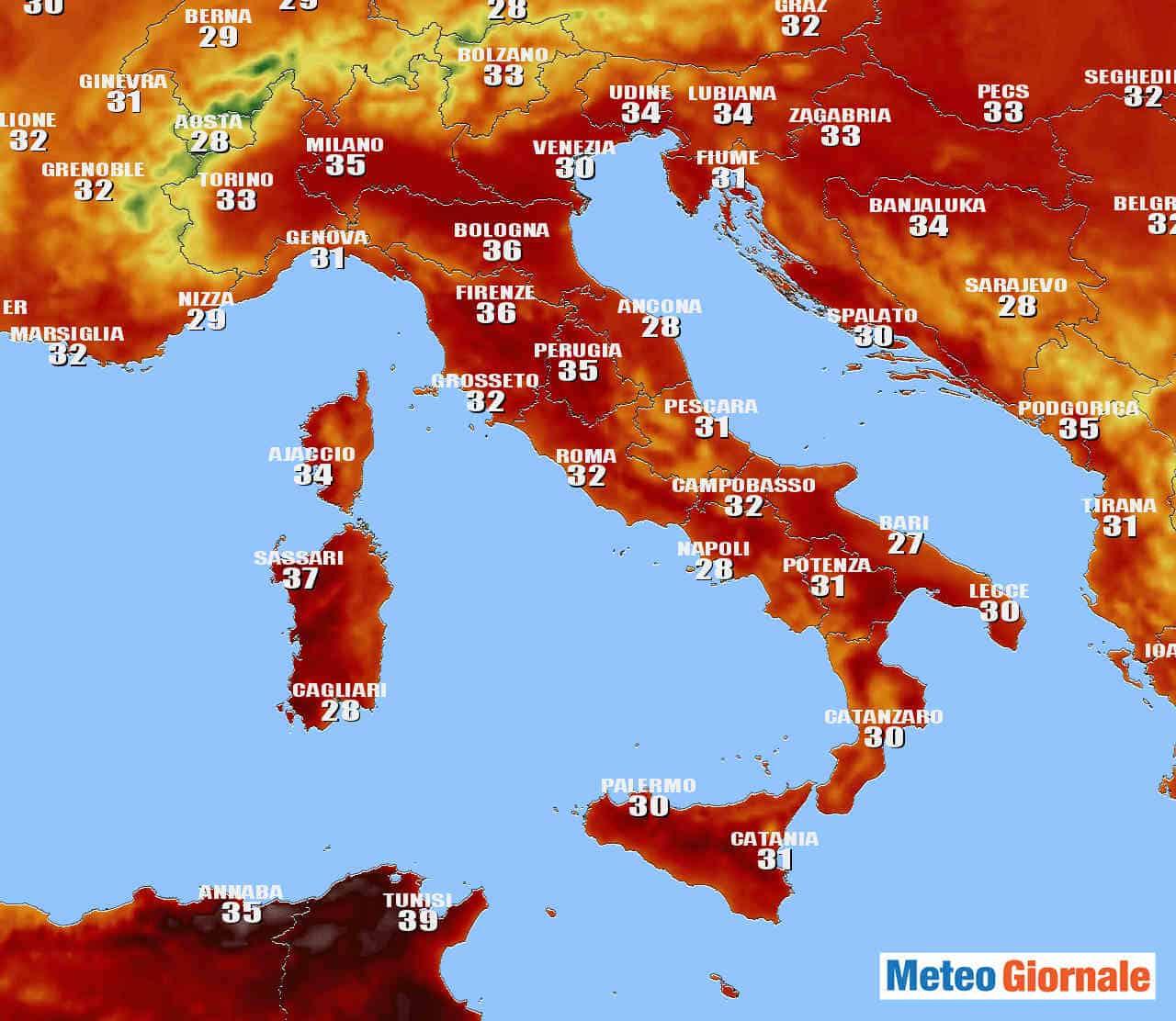 centro meteo tedesco previsione domenica 20 giugno - METEO, verso un fine settimana dal CALDO Asfissiante. Lunedì rischio GRANDINE