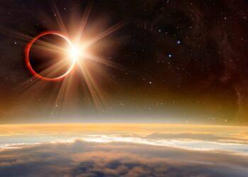 eclissi anulare sole 1 350x250 - Video delle straordinarie immagini dell'eclissi solare nel Nord America