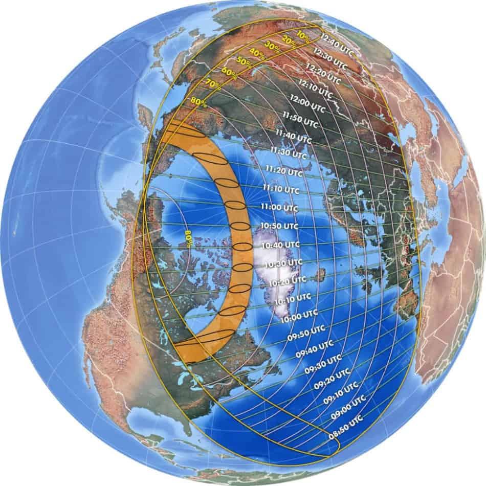 grafico eclissi di sole - Eclissi di Sole giovedì 10 giugno
