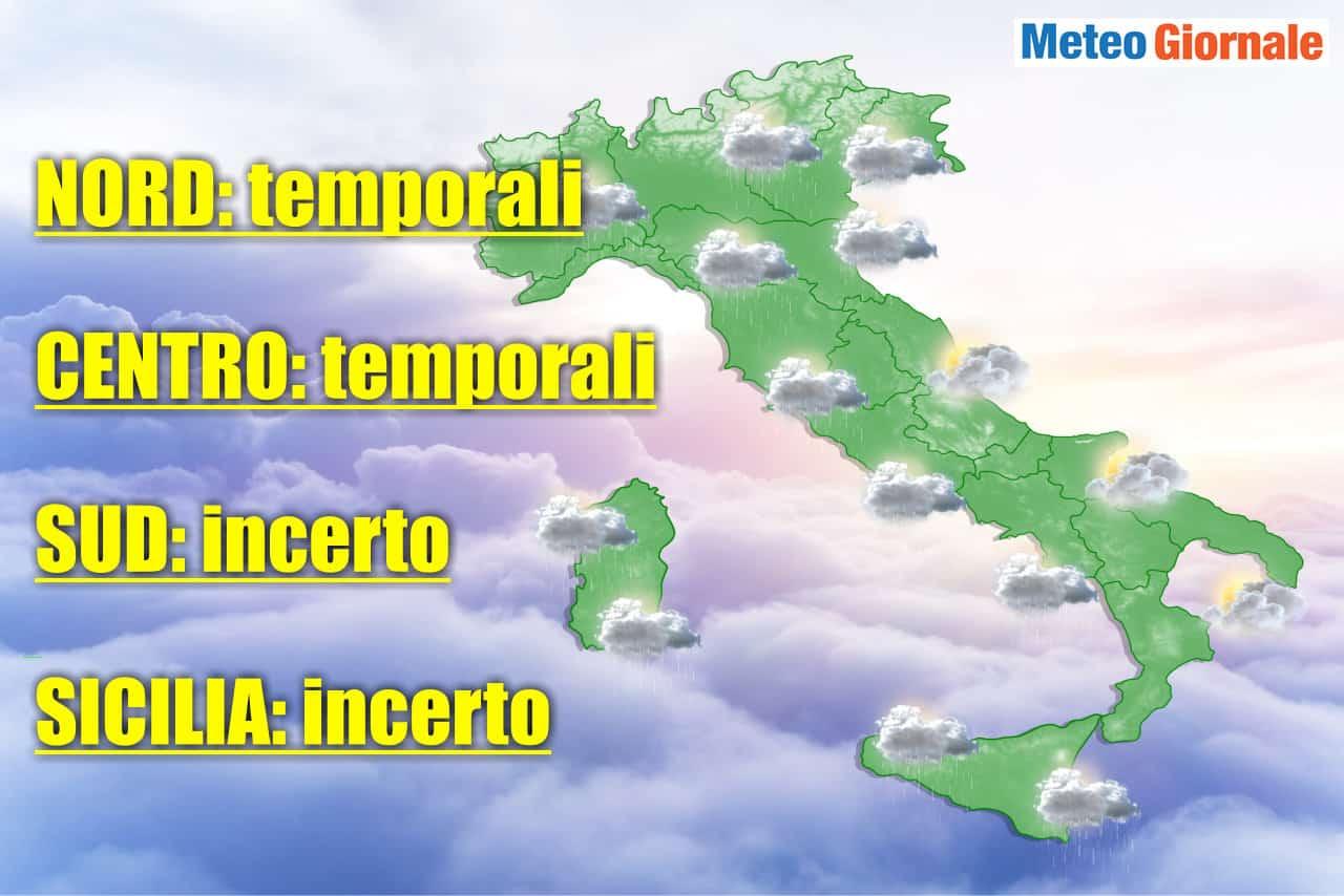 meteo domani con temporali anche intensi - Meteo domani 6 Giugno 2021, Maltempo con FORTI Temporali, rischio di GRANDINE