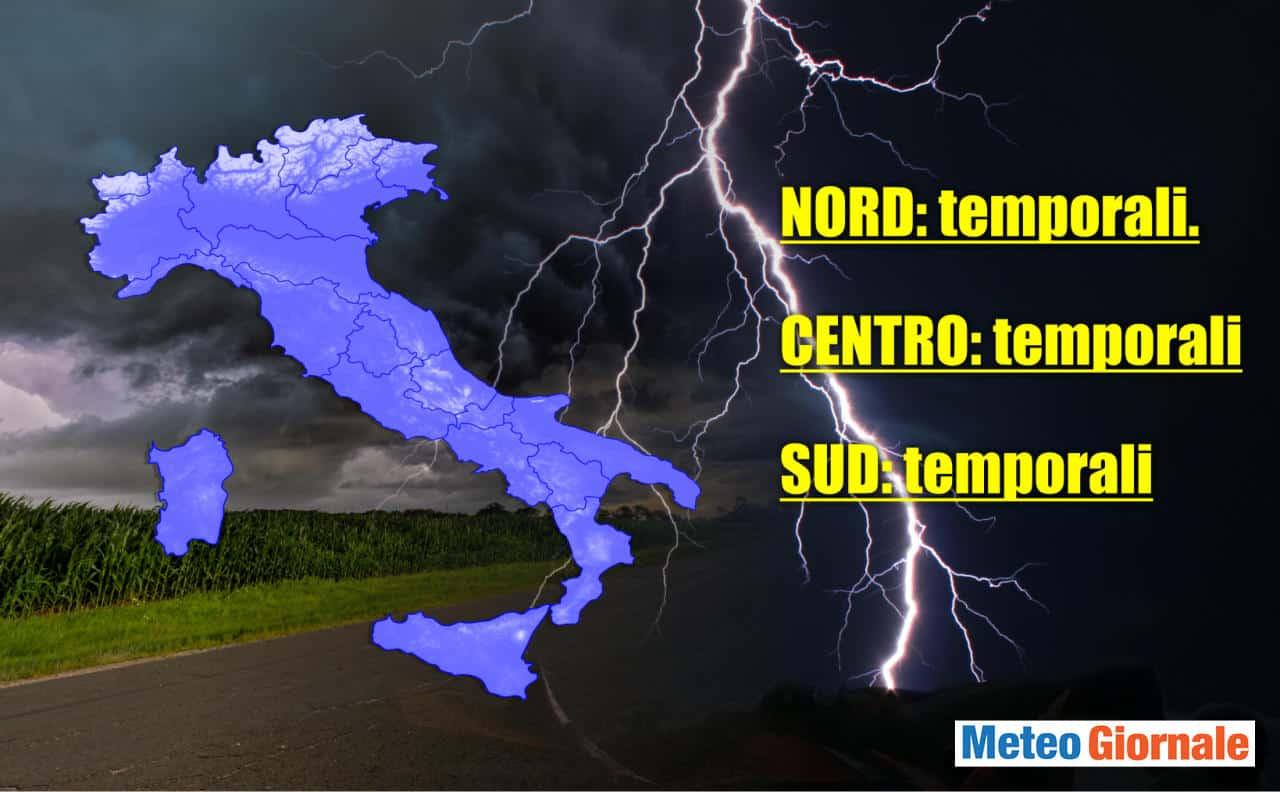meteo oggi 6 giugno 2021 - Meteo Oggi 6 Giugno 2021. Escalation di temporali in giornata. Rischio grandinate