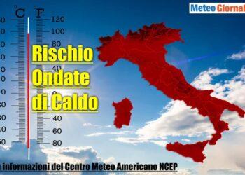 Il rischio ondate di calore secondo il Centro Meteo Americano.