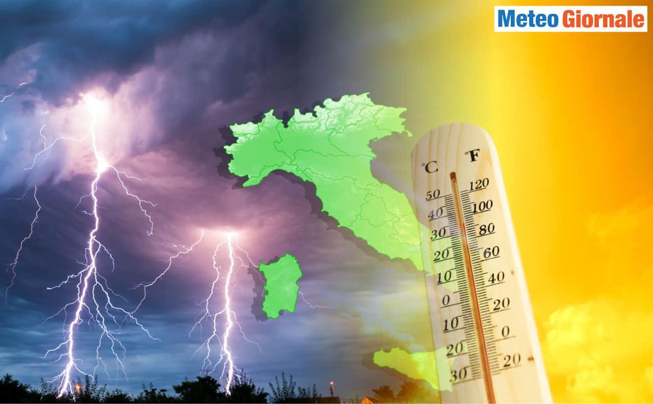 meteo verso rischio temporali intensi - Verso i TEMPORALI: scenario meteo più PERICOLOSO con il Caldo