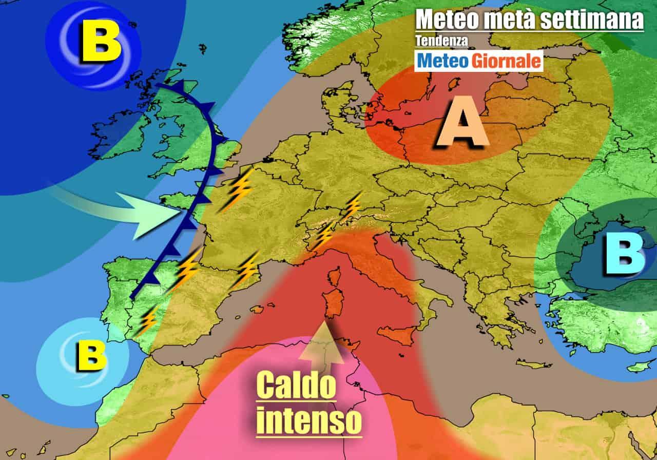 meteogiornale previsioni 7 giorni 11 - METEO Italia. Settimana tra GRAN CALDO e isolati TEMPORALI. AFA in aumento