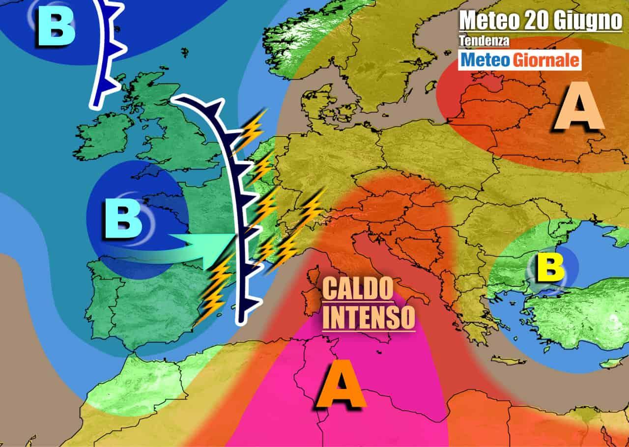 meteogiornale previsioni 7 giorni 15 - METEO WEEKEND con Forte CALDO AFRICANO. Domenica TEMPORALI al Nord