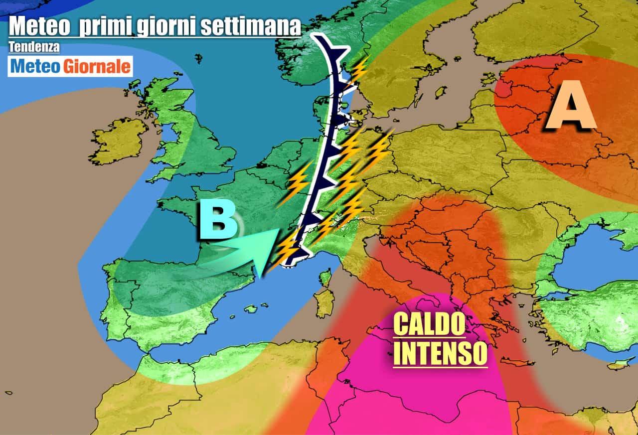 meteogiornale previsioni 7 giorni 17 - METEO Italia. CALDO OPPRIMENTE continuo, su parte del Nord FORTI TEMPORALI