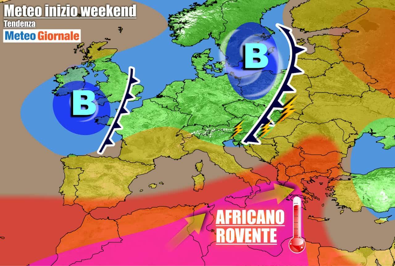 meteogiornale previsioni 7 giorni 21 - METEO: nel Weekend STOP CALDO asfissiante. Poi TEMPERATURE africane