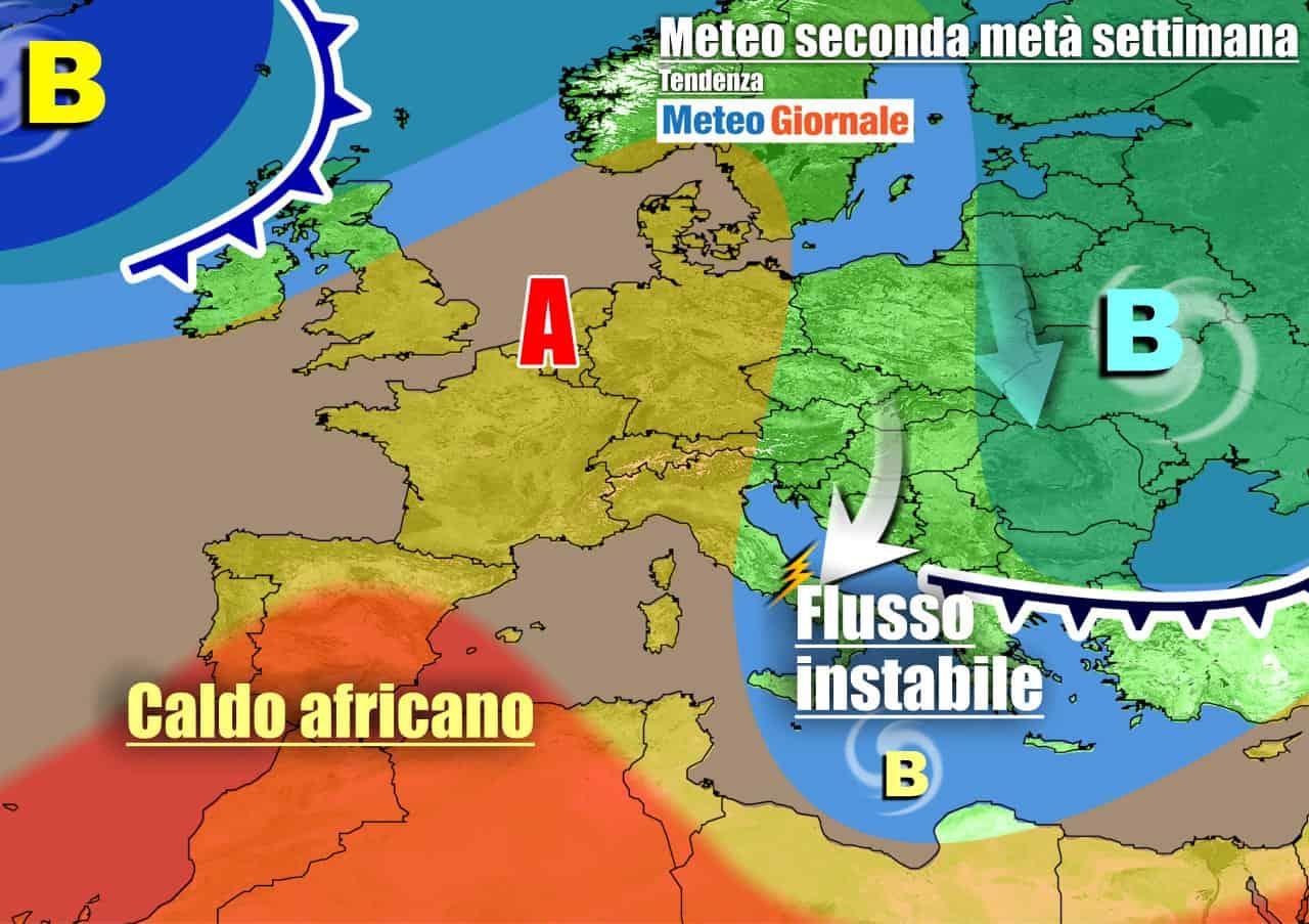 meteogiornale previsioni 7 giorni 5 - METEO Italia. ACQUAZZONI e TEMPORALI, ma graduale arrivo dell'anticiclone