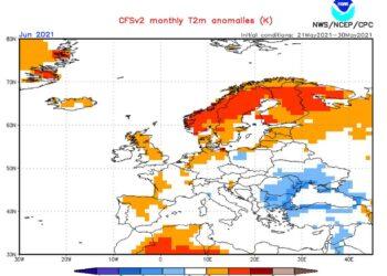 Le anomalie termiche previste dal Centro Noaa nel corso di tutto giugno