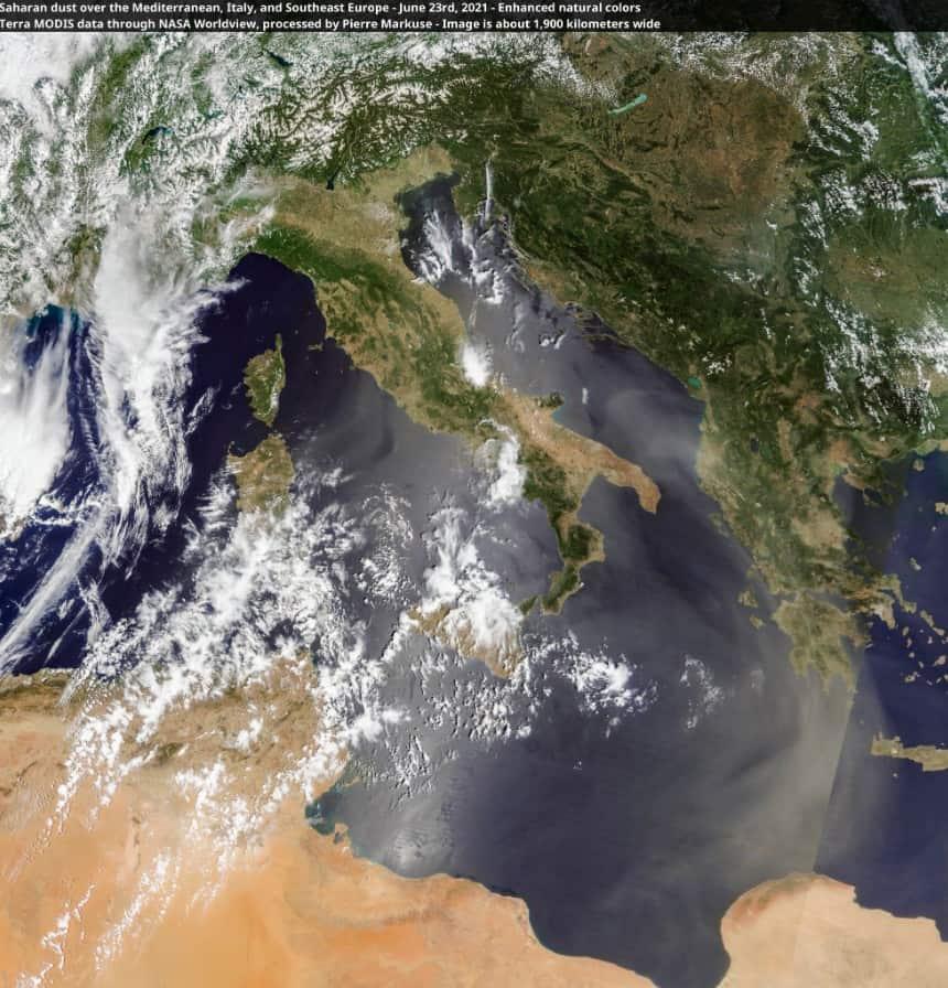 sabbia sahara meteosat - Nube di polvere del Sahara invade il Mediterraneo centro orientale e Italia