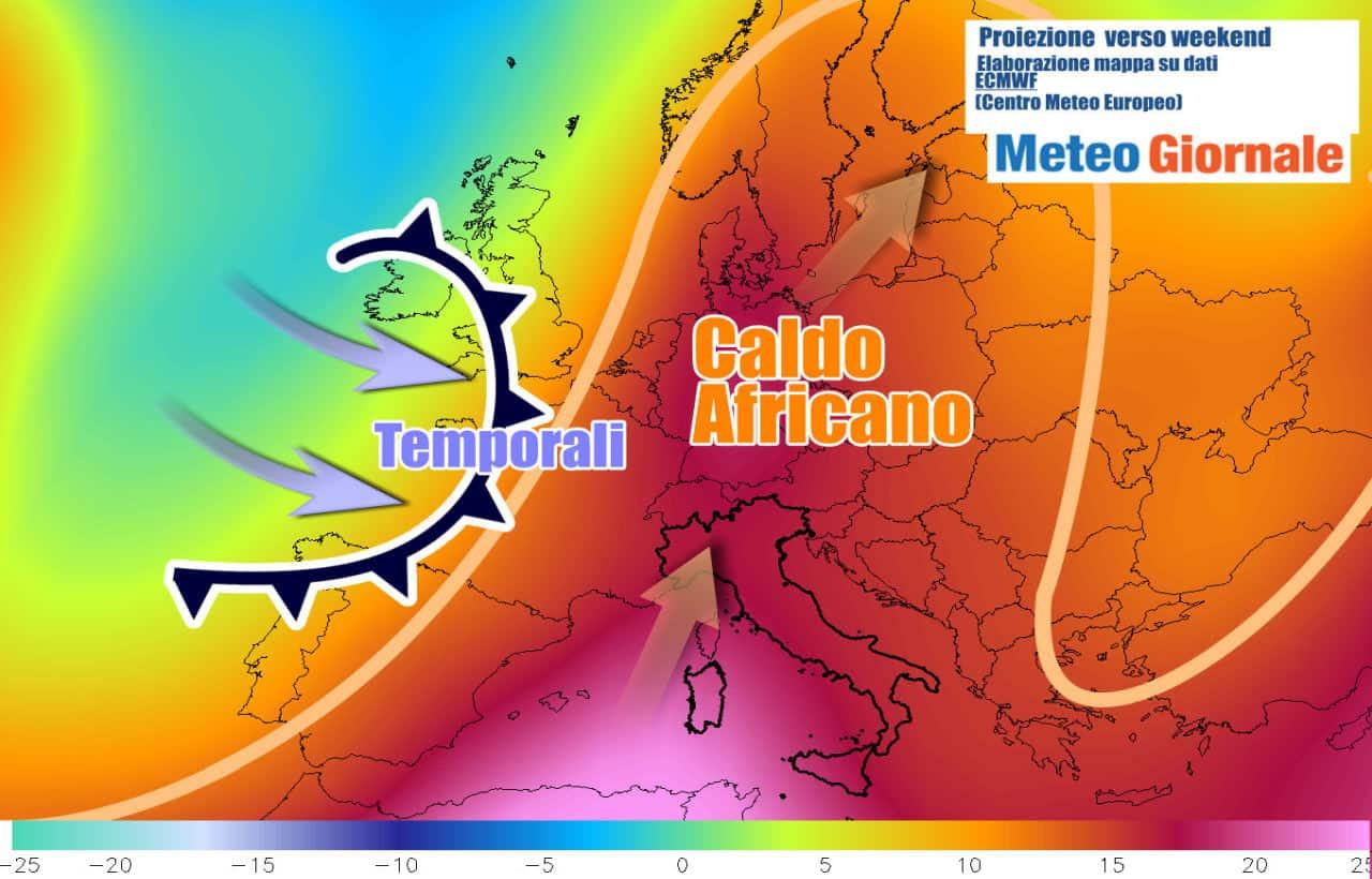 tendenza meteo weekend europa - Ecco il CALDO AFRICANO in Italia ed Europa, ma si avvicinano violenti temporali