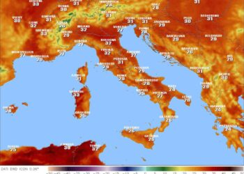 Temperatura massima indicata dal modello matematico ICON per oggi.