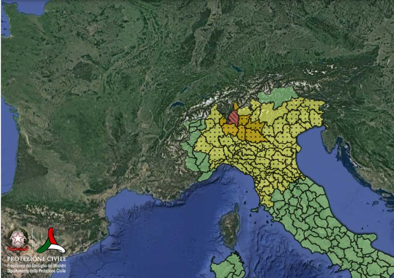 1 agosto 2021 - Allerta Meteo della Protezione Civile per il Nord Italia e la Toscana