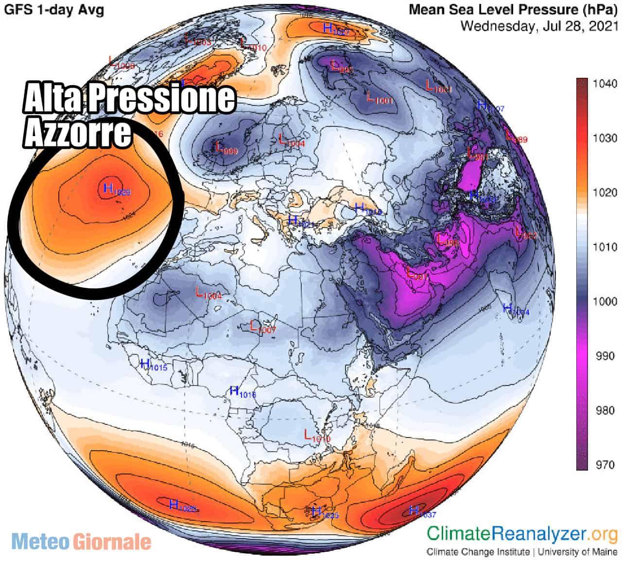 alta pressione azzorre - Meteo d'Estate che rischia di sparire. Le cause