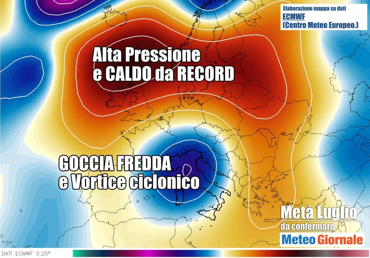 anomalia 500 hpa - Nucleo d'Aria Fredda romperà l'Estate 2021. Meteo all'apparenza pazzo