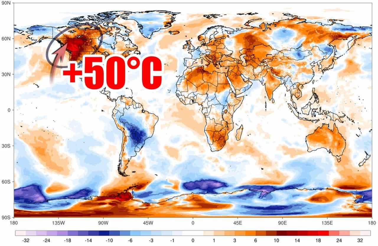 caldo record canada 2021 - CALDO RECORD in Canada, quasi 50 gradi. Anomalia peggio del 2003 in Europa
