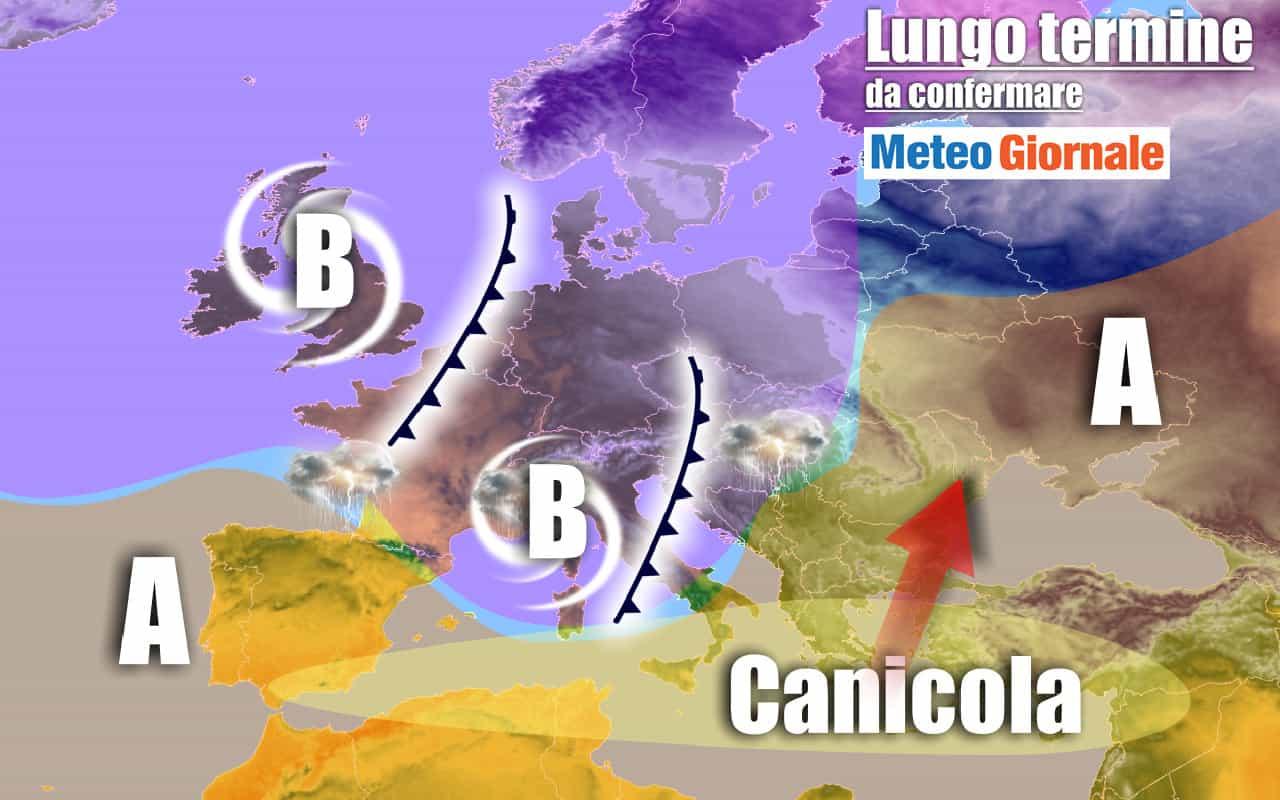 lungo termine 15 - METEO Italia al 7 agosto: dal CALDO rovente ai TEMPORALI