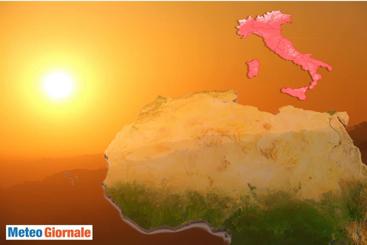 meteo cielo sabbioso - Meteo CALDO con il carico di SABBIA dal SAHARA sull'Italia: il Ghibli