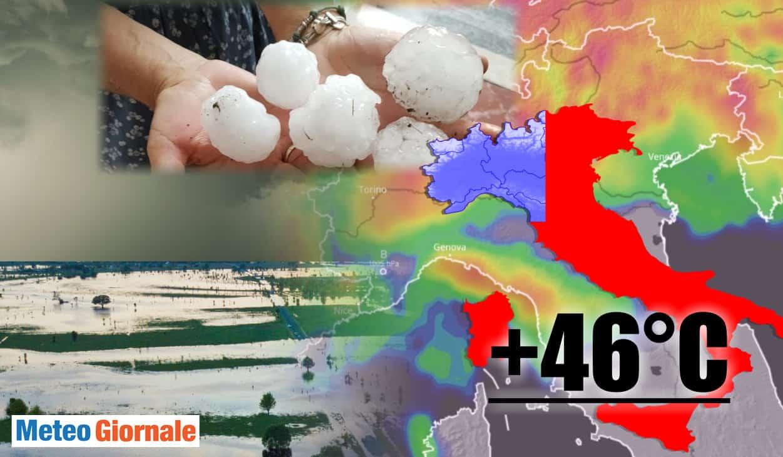 meteo fine settimana con grandine e caldo - Meteo: Italia dalla tempesta di fuoco a 46°C. Al Nord Grandine e Nubifragi. Video