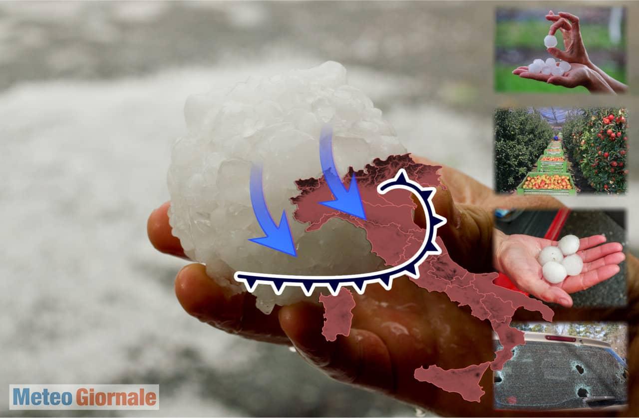 meteo grandine - Meteo: il rischio di devastanti grandinate. La grandine di grosse dimensioni