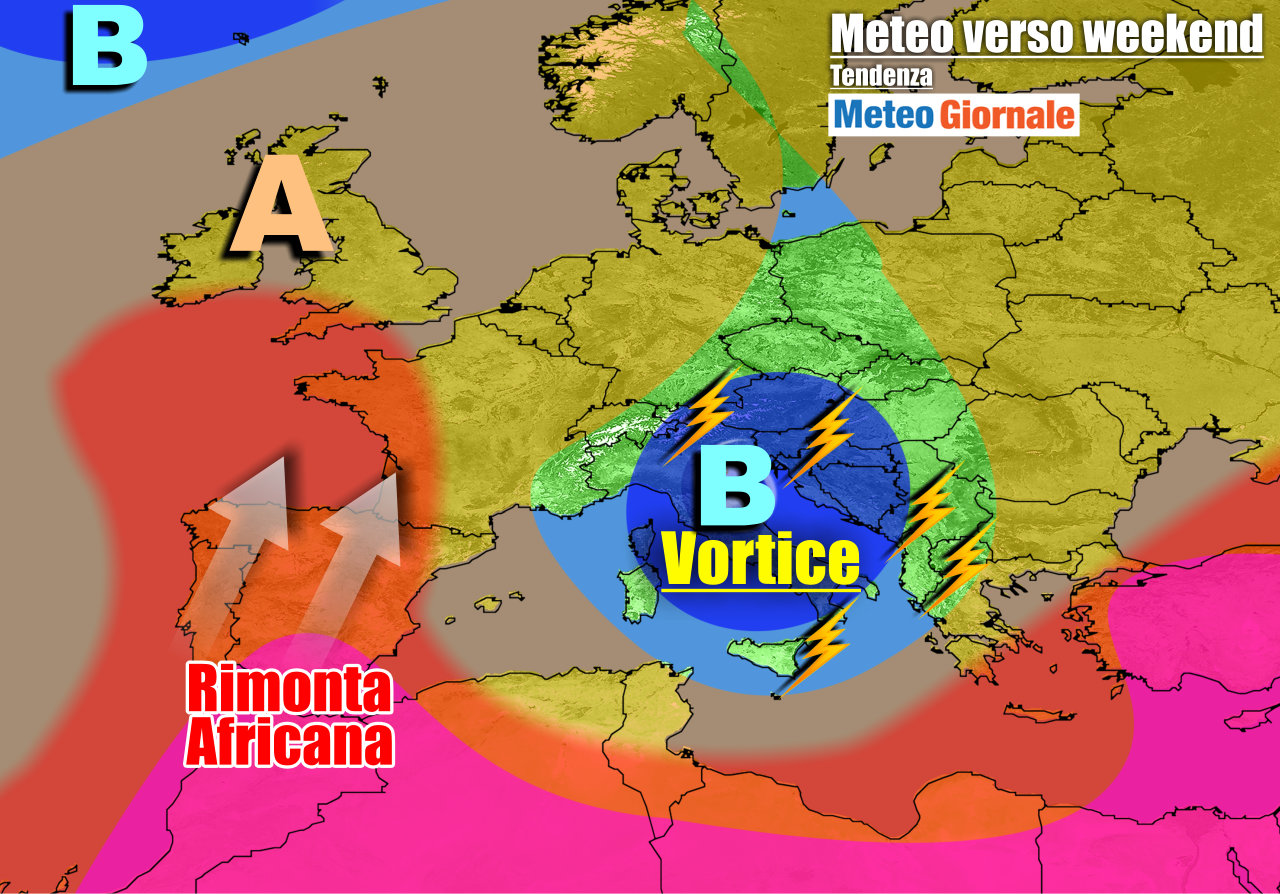 meteogiornale previsioni 7 giorni 13 - METEO 7 Giorni. Insolito VORTICE FREDDO in piena Estate e TEMPORALI, GRANDINE