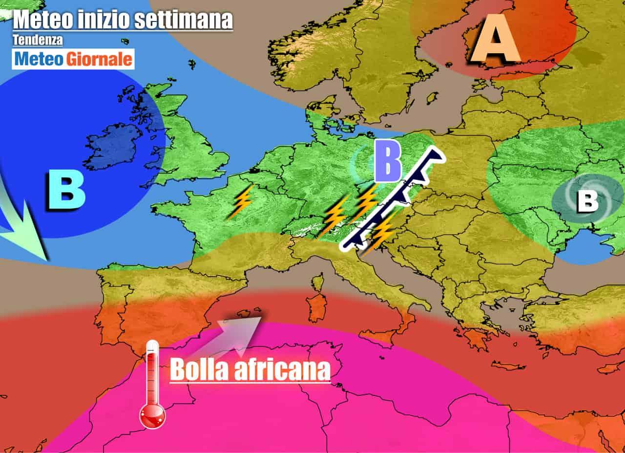 meteogiornale previsioni 7 giorni - METEO ITALIA. Nel weekend sfuriata di TEMPORALI al Nord, breve REFRIGERIO