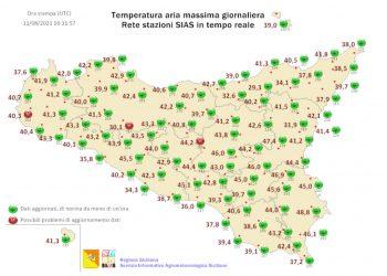 Temperature massime di oggi, della rete meteo di sias.regione.sicilia.it