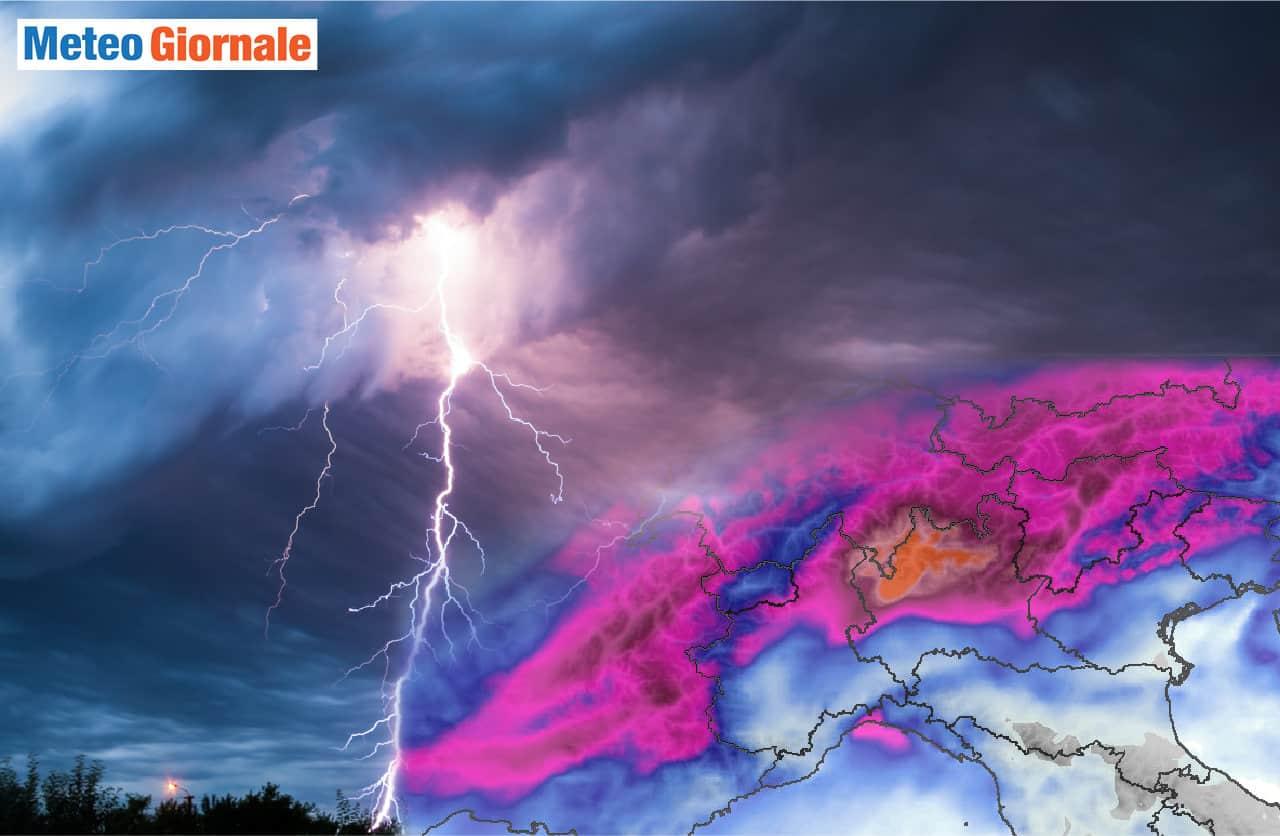 meteo avverso con maltempo nord italia - Meteo Italia: nuova raffica di temporali di forte intensità. Rischio grandine