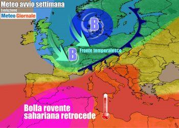 Avvio settimana con meteo in peggioramento e graduale attenuazione del caldo