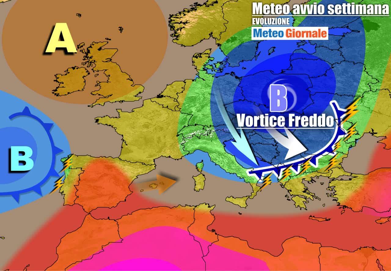 meteogiornale previsioni 7 giorni 25 - Meteo 7 giorni: VORTICE FREDDO assalta l'Italia, con un carico di TEMPORALI