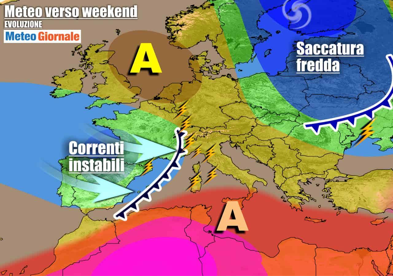 meteogiornale previsioni 7 giorni 29 - Meteo 7 giorni: breve anticiclone, poi PIOGGE e TEMPORALI a fine settimana
