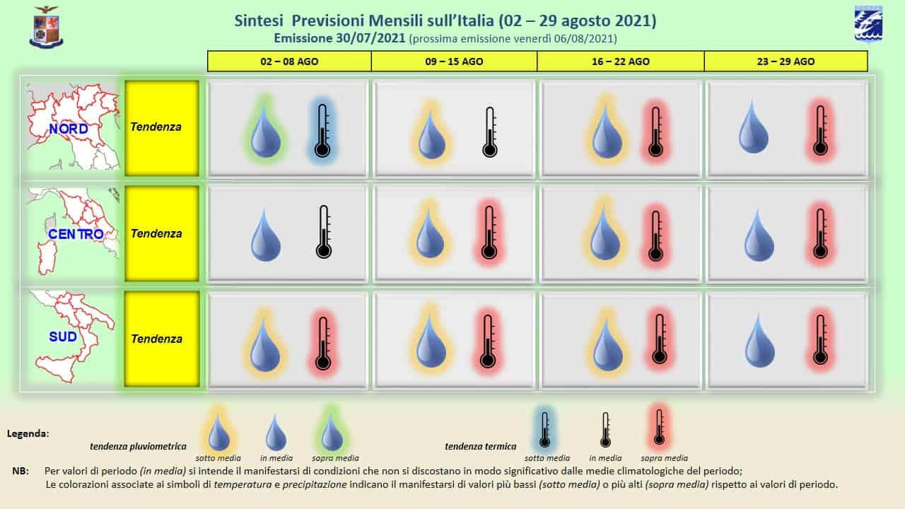 previsioni mensili 30 07 2021 - Caldo, molto caldo dice il Meteo Aeronautica per Agosto 2021