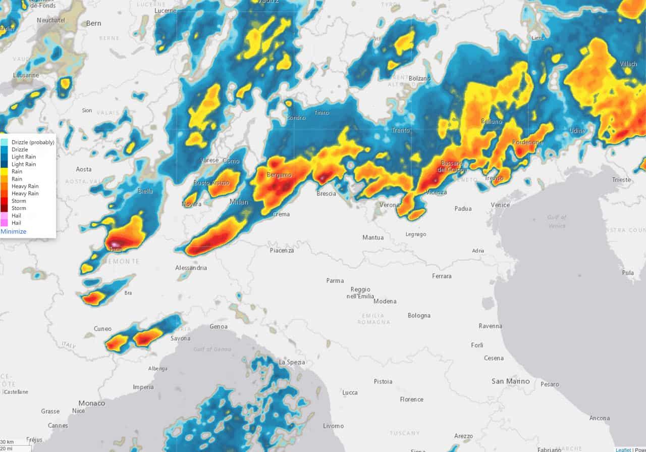 radar meteo pomeriggio 1 agosto 2021 - Meteo, c'è Grandine Devastante anche oggi pomeriggio