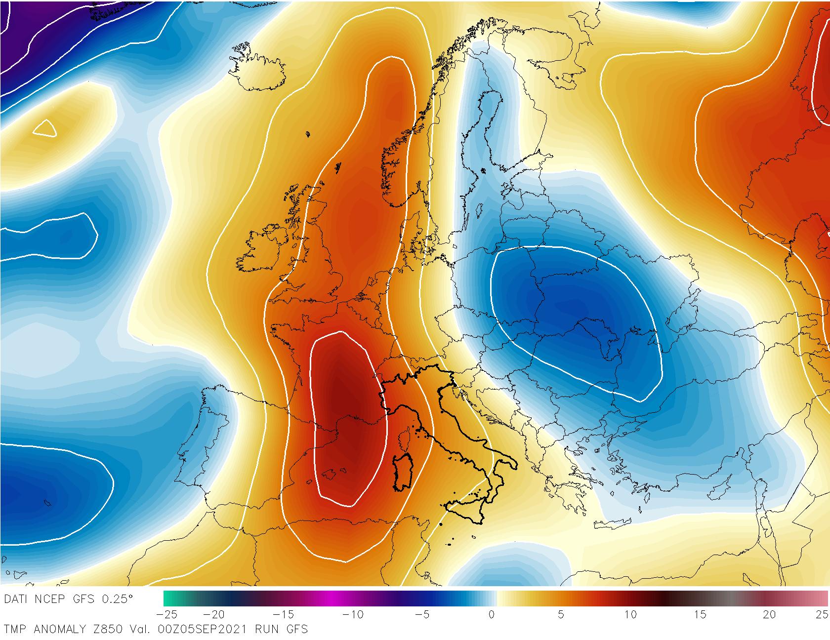 Anomalie temperatura 850 hPa.