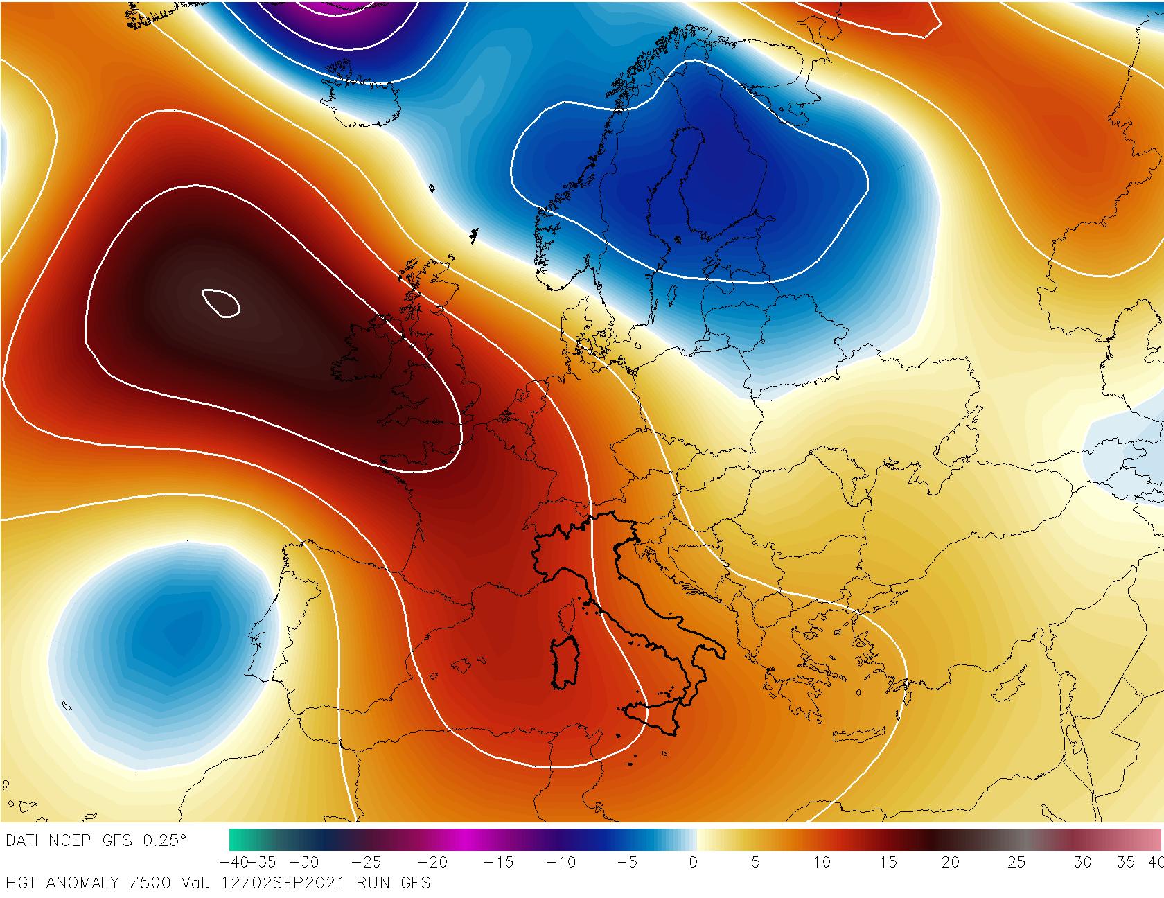 Anticiclone anche in Italia nei primi di settembre. Per altro, con temperature ben al di sopra della media.