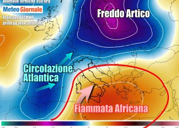Ancora rimonta di correnti calde africane verso l'Italia, principalmente verso il Sud